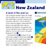 New Zealand. An example spread showing New Zealand. Each spread contained high quality illustrations, photography or maps to illustrate major geographic features.