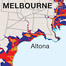 Sea level rise. Climate change is an important topic in Australia at the moment and this map displays graphically the effects of sea level rise around the city of Melbourne.