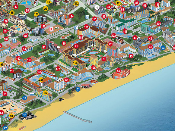 Map of the Month 32012 Panoramic tourist map of resort Sunny Beach