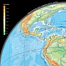 Example spread: Views of the surface of the Earth, South America. This innovative double page combines different types of illustrations like map,