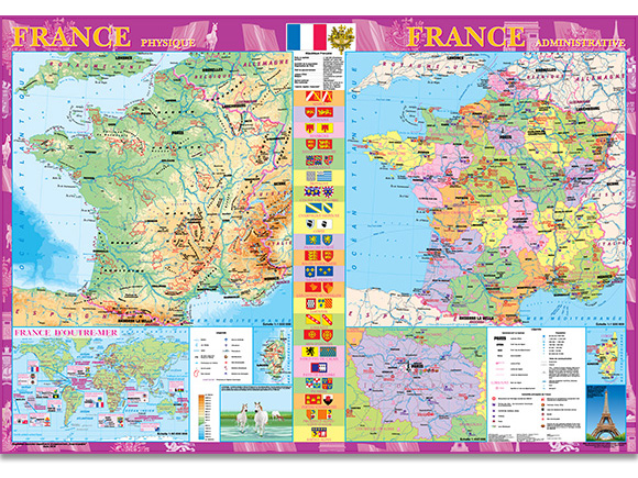 Map Of The Month France Physigue Administrative - France geographical map