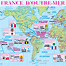 Map of the French overseas territories (FRANCE  D'OUTRE-MER) with the scale of 1:90,000,000. Click on the map to zoom in.