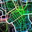 Experimental map design for combining popularity heatmaps of cycling, jogging and walking in Helsinki, Finland.