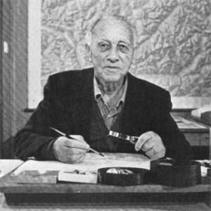 Eduard Imhof in his studio in Erlenbach, Switzerland