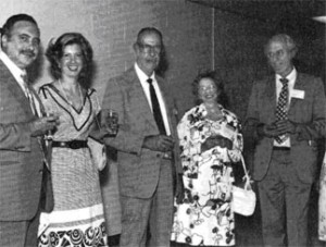Opening reception at the 9th Conference, University of Maryland, 1978. From left to right, Dr. and Mrs. de Henseler (UN), Professor and Mrs. Robinson, Vice-President Bartholomew
