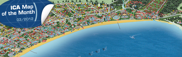 Panoramic tourist map of resort Sunny Beach, Bulgaria