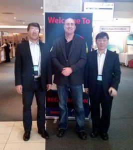 Prof. Chen Jun (ISPRS President), Jeff McKenna (OSGeo President) and Prof. Georg Gartner (ICA President) during their meeting at AfricaGEO in Cape Town in July 2014 to discuss future collaboration for GeoforAll