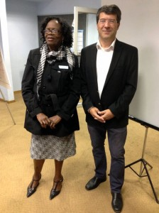 National Delegate of Botswana to ICA Lucy Phalaage and ICA President Georg Gartner in Goborone, June 2014