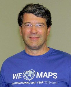 Georg Gartner at ICC2015 wearing an #welovemaps shirt