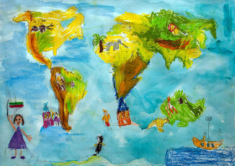 how to draw a world map for kids