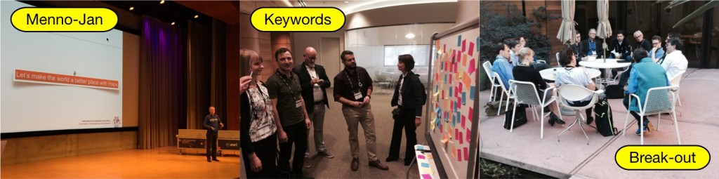 Presentations (here by Menno-Jan Kraak) and break-out session for collecting and discussing keywords for each session