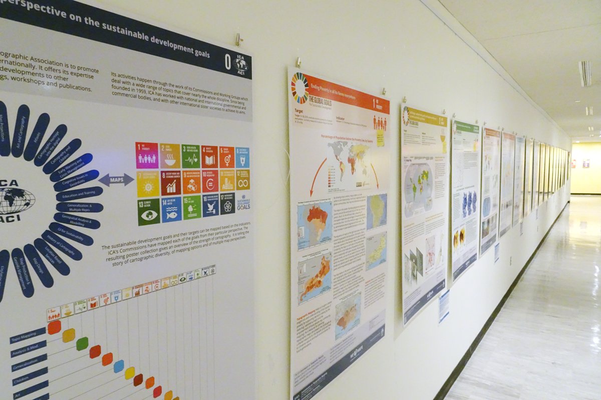 The ICA posters as presented in the conferences area in United Nations Headquarters in New York