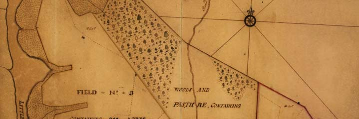 Detail of George Washington's map A plan of my farm on Little Huntg. Creek & Potomk. R., 1766. Free downloaded from the Library of Congress web-provider.
