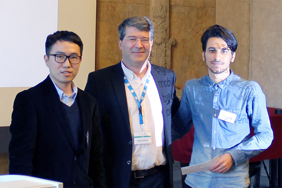 Georg Gartner, ICA past president, with Xingyu Zheng and Omid Reza Abbasi at the 13th Conference on Location-Based Services, Vienna