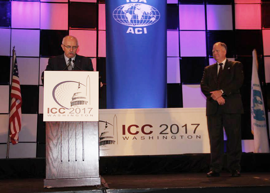 Timothy Trainor receiving the ICA Honorary Fellowship