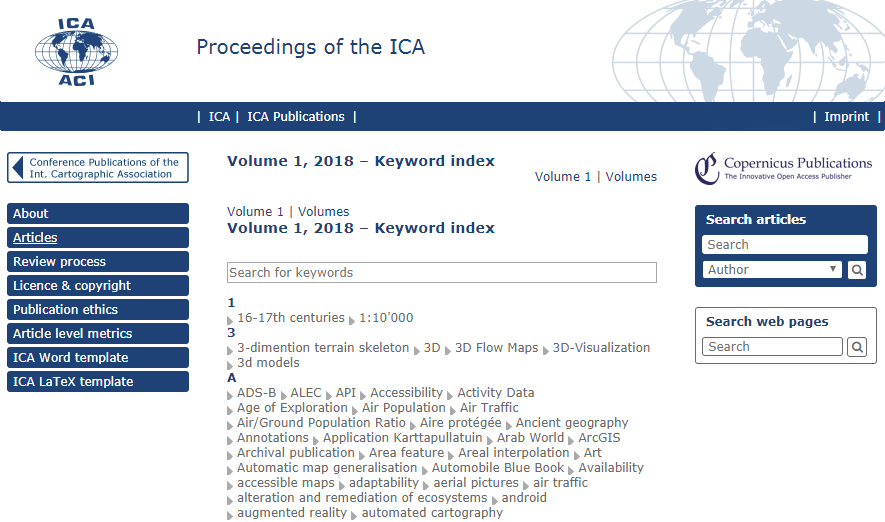 Journal Website Proceedings of the ICA