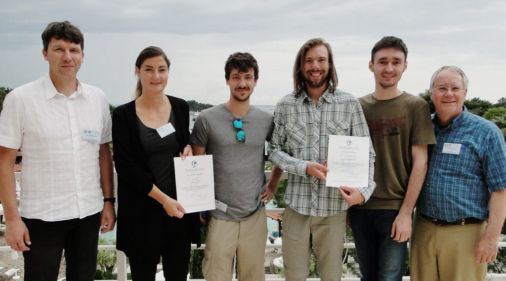 Chairs of the Commission on Mountain Cartography Dušan Petrovič (left) and Tom Patterson (right) with the awardees of ICA Scholarships at the 11th Mountain Cartography Workshop in Hvar, Croatia: Maša Arnež, Benedikt Hajek, Lukas Neugebauer, Tomislav Jogun