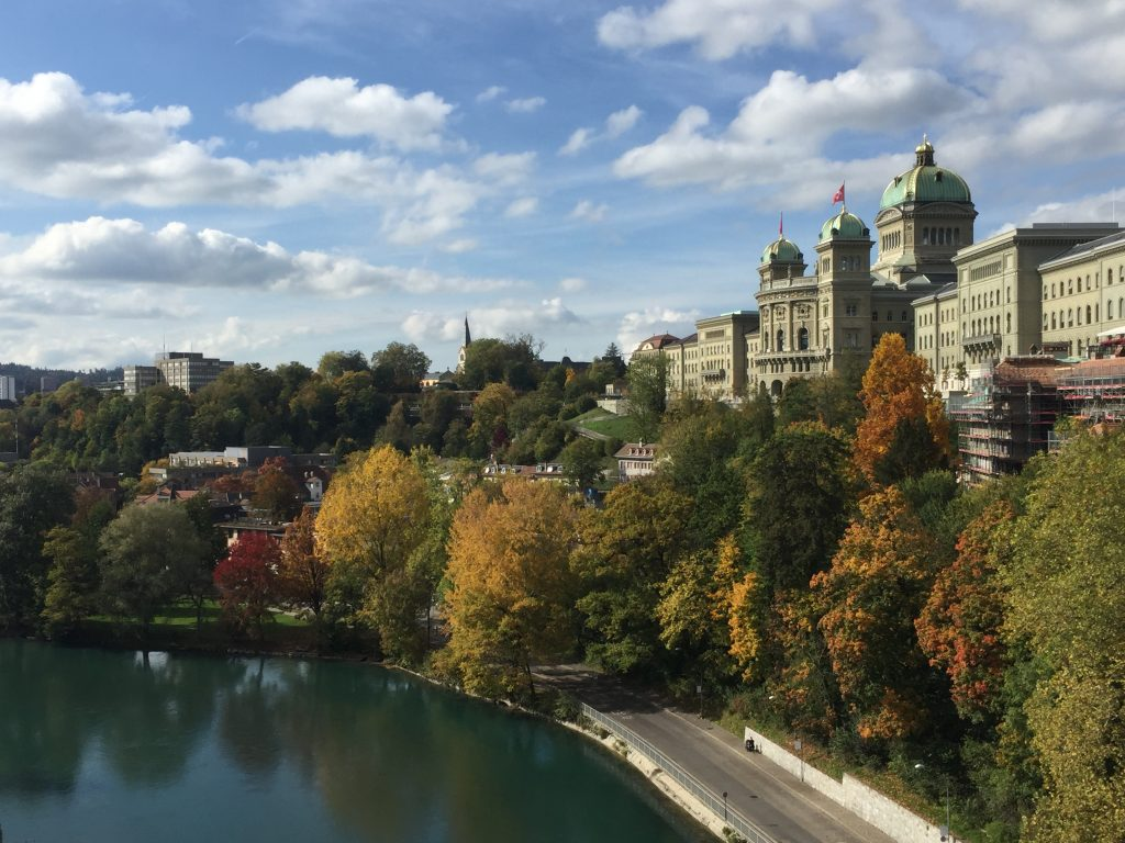 View of the Swiss capital / Swiss parliament on a beautiful autumn day from the site of the anniversary event